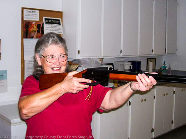Fern Irons sights in her new Daisy Red Ryder BB Gun