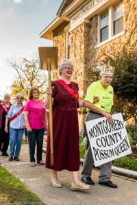 Possum Potentate John and 2015 Possum Queen Donna lead the procession for the crowning of the 2016 Possum Queen.
