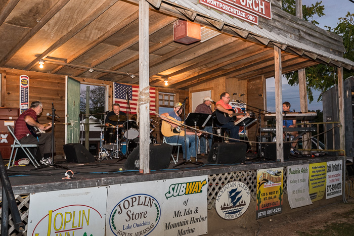 The Prairie Grove Band plays their last Front Porch Stage gig for the 2016 season. Thanks, Y'all! We always enjoy your fine performances! (Click on this image to view more photos from Oct. 1, 2016.)