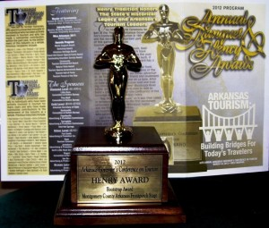 """In 2012, the Montgomery County, Arkansas, Front Porch Stage was presented the """"Bootstrap Award"""" at the Governor's Arkansas Tourism """"Henry Awards"""" and Banquet."""