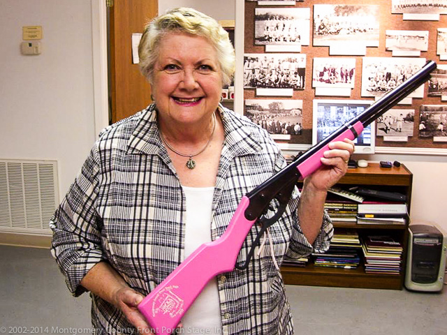 Emile Kinney with her new Pink Red Ryder BB Gun