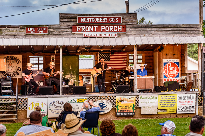 Gator & Friends, along with Dewayne Hodges, making great music on the Front Porch Stage<br />(Click on this image to view more photos from May 20, 2017)